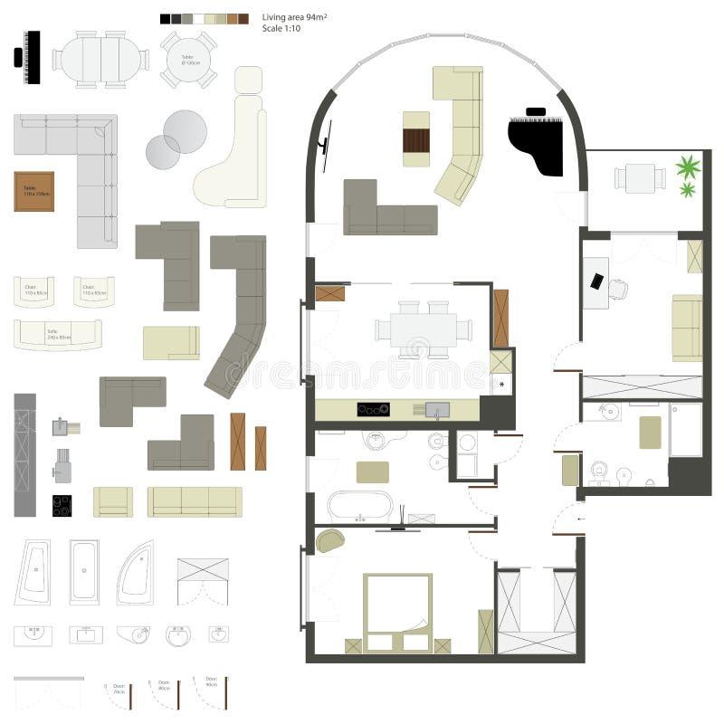 Proyección plana del vector con muebles conjunto escala stock de ilustración
