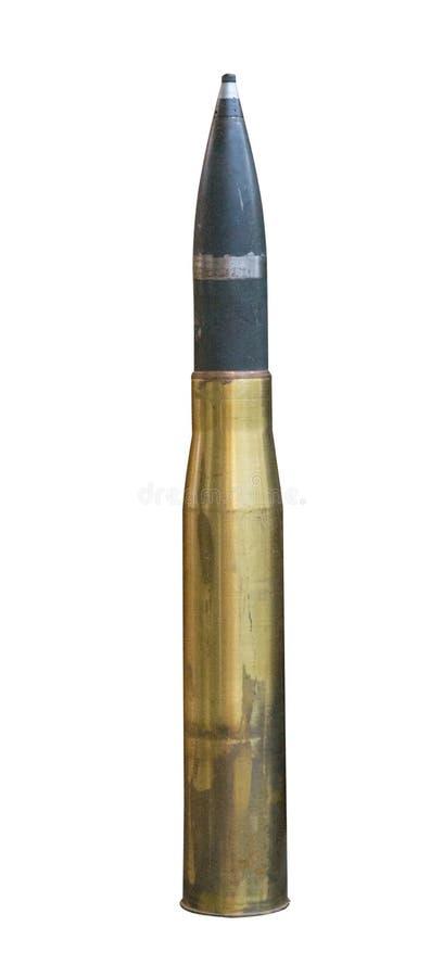 Proyectil de artillería aislado en el fondo blanco proyectil de artillería franco fotos de archivo
