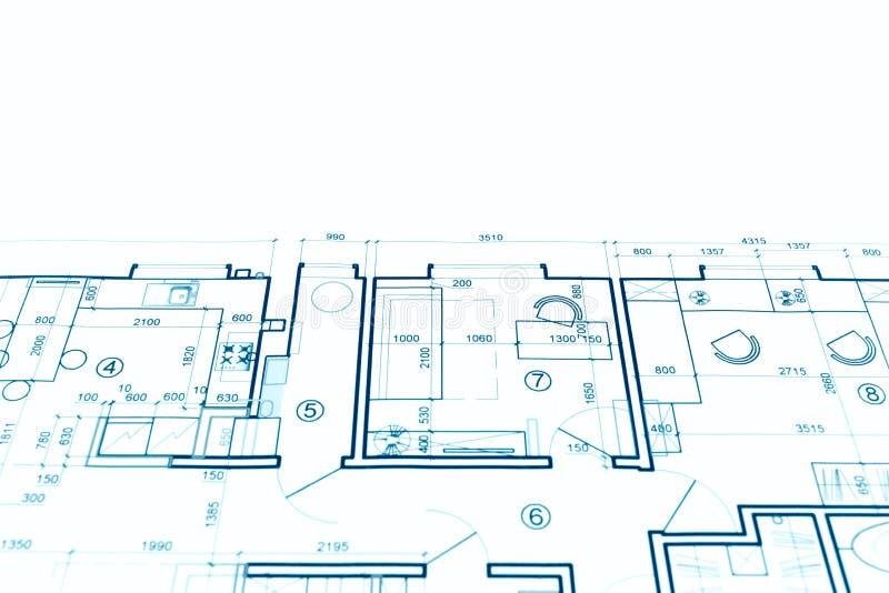 Proyecto arquitectónico, dibujo técnico, azul del plan de la construcción fotos de archivo libres de regalías