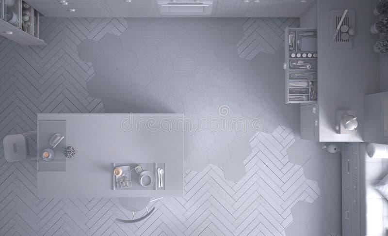Proyecto blanco total de la cocina escandinava, con la isla, las tejas y el piso de entarimado, visión superior, interior contemp ilustración del vector