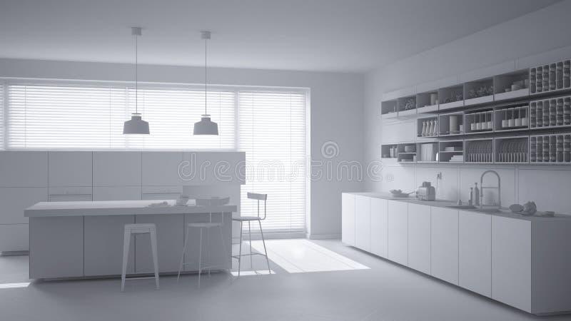 Proyecto blanco total de la cocina minimalistic con la isla y los taburetes, de la ventana grande y de las lámparas pendientes, i ilustración del vector