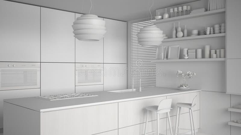 Proyecto blanco total de la cocina moderna con los estantes y de los gabinetes, isla con los taburetes Sala de estar contemporáne ilustración del vector