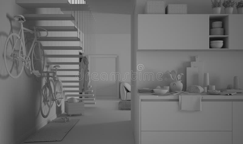 Proyecto blanco total de la cocina y de la sala de estar con las escaleras y la bici, interior moderno de la arquitectura stock de ilustración