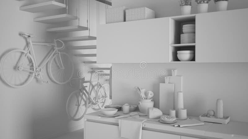 Proyecto blanco total del cierre moderno minimalista de la cocina para arriba con el desayuno sano, diseño interior de la arquite libre illustration