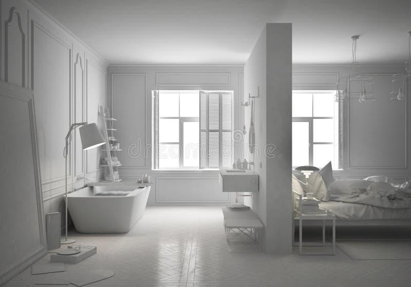 Proyecto blanco total del dormitorio de lujo con el cuarto de baño en el estilo escandinavo, diseño interior de la arquitectura m ilustración del vector