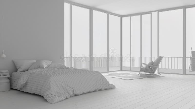 Proyecto blanco total del dormitorio minimalista con la ventana, la alfombra y la butaca panorámicas grandes, hotel, balneario, h stock de ilustración