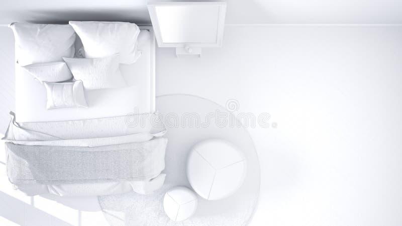 Proyecto blanco total del dormitorio moderno cómodo con el piso de entarimado de madera, la alfombra con el taburete y la cama co libre illustration
