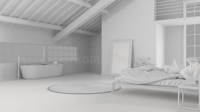 Proyecto blanco total del espacio abierto del desván con el dormitorio y el cuarto de baño con la bañera y las ventanas panorámic stock de ilustración