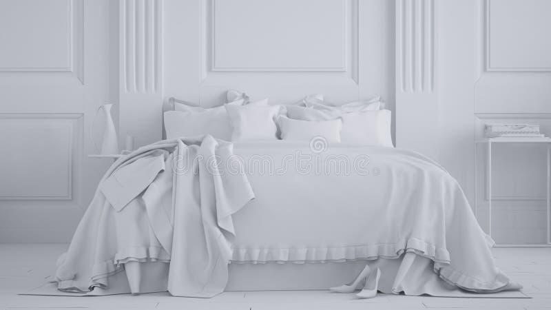 Proyecto blanco total, dormitorio clásico con la pared de madera y cama suave doble, interior contemporáneo de la arquitectura libre illustration