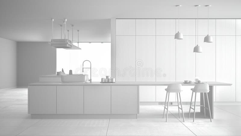 Proyecto blanco total, sin materiales, del avellanador costoso de lujo minimalista de la cocina, de la isla, del fregadero y del  stock de ilustración