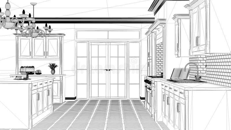Proyecto de diseño interior, bosquejo blanco y negro de la tinta, modelo de la arquitectura que muestra a vintage clásico la coci libre illustration