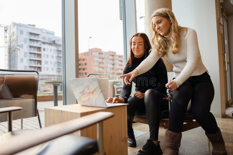 Proyecto de Doing Business de las mujeres jovenes sobre el ordenador portátil en el restaurante imagen de archivo