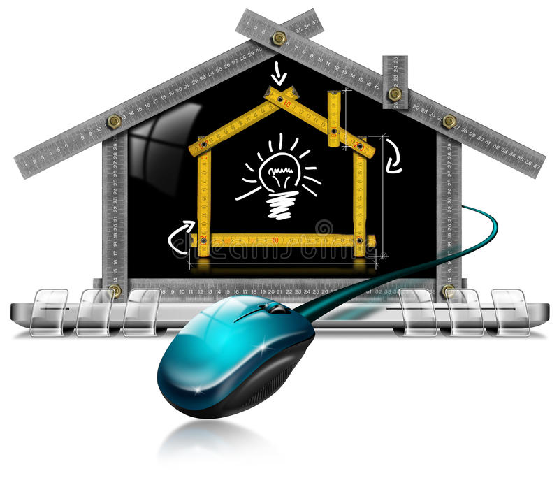 Proyecto de la casa - herramienta del metro de ordenador ilustración del vector