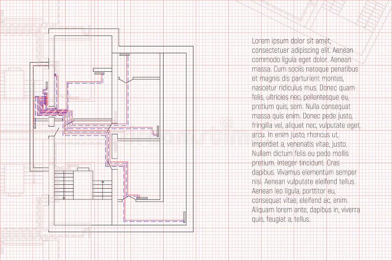 Proyecto de la HVAC de la ingeniería Modelo técnico de calefacción Bosquejo de la arquitectura con su texto stock de ilustración