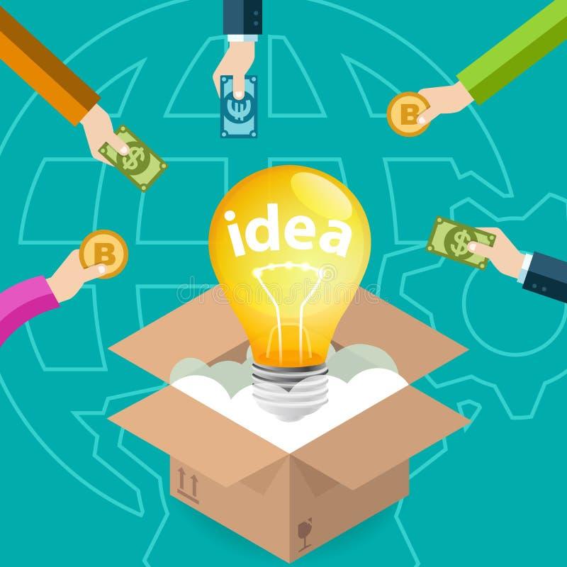 Proyecto de la idea del negocio de Crowdfunding ilustración del vector