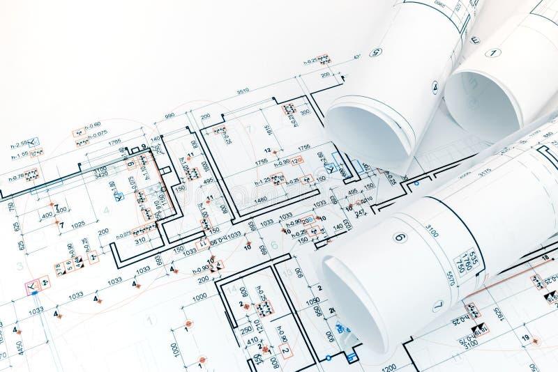 Proyecto de la ingeniería para la disposición de las luces eléctricas en el apartamento foto de archivo libre de regalías
