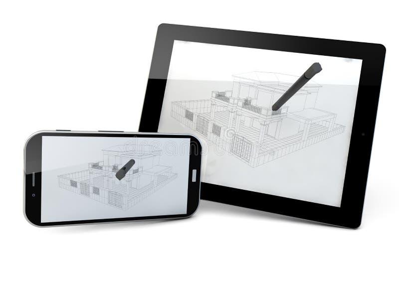 Proyecto de la tableta y del smartphone stock de ilustración