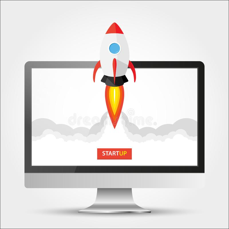 Proyecto de lanzamiento del app sobre concepto del equipo de escritorio Mosca de Rocket fuera del monitor Empiece para arriba, id libre illustration