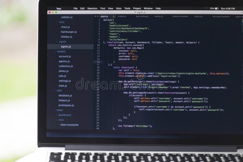 Proyecto de software usando Javascript foto de archivo