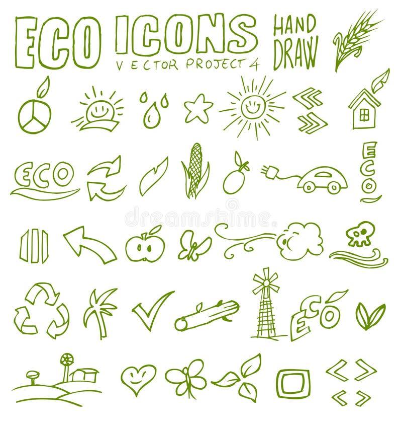 Drenaje 4 de la mano de los iconos de Eco libre illustration