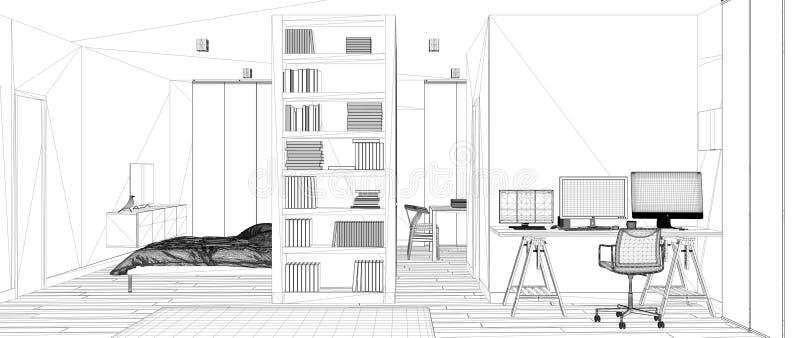 Proyecto del proyecto del modelo, bosquejo de un plano del sitio con el piso de entarimado, lugar de trabajo casero con el escrit ilustración del vector