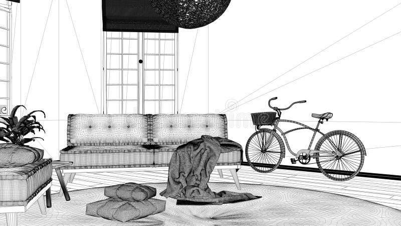 Proyecto del proyecto del modelo, sala de estar minimalista escandinava con las ventanas grandes, sofá, butaca y alfombra, diseño ilustración del vector