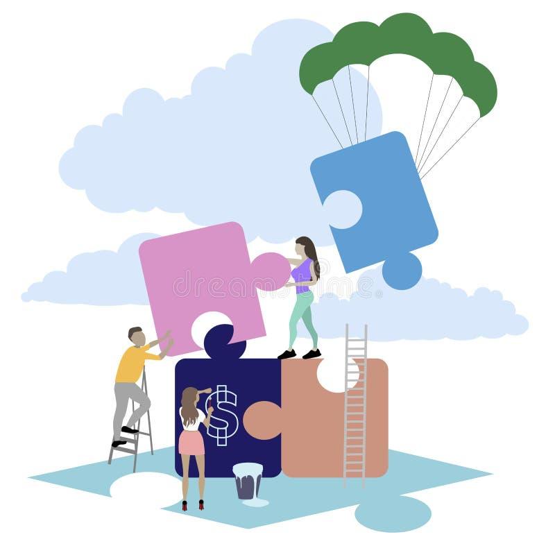 Proyecto del rompecabezas de la formación de equipo, concepto de la metáfora del negocio stock de ilustración