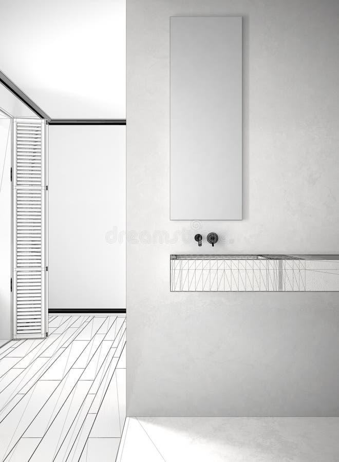 Proyecto inacabado de la pared del primer del cuarto de baño, de mármol y del entarimado libre illustration