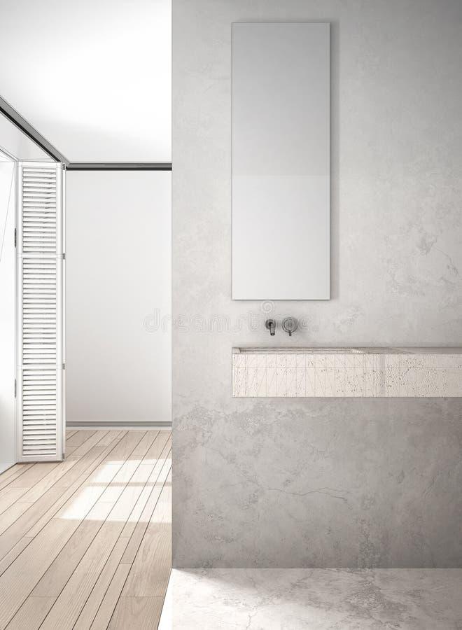 Proyecto inacabado de la pared del primer del cuarto de baño, de mármol y del entarimado ilustración del vector