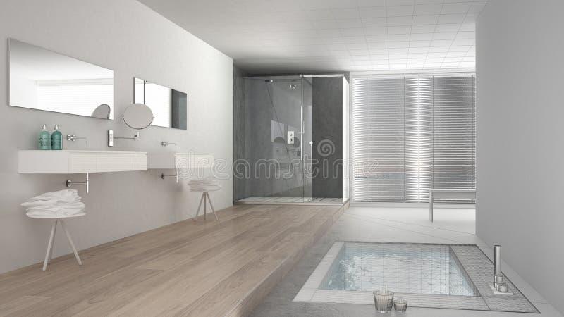Proyecto inacabado del cuarto de baño blanco y gris minimalista ilustración del vector