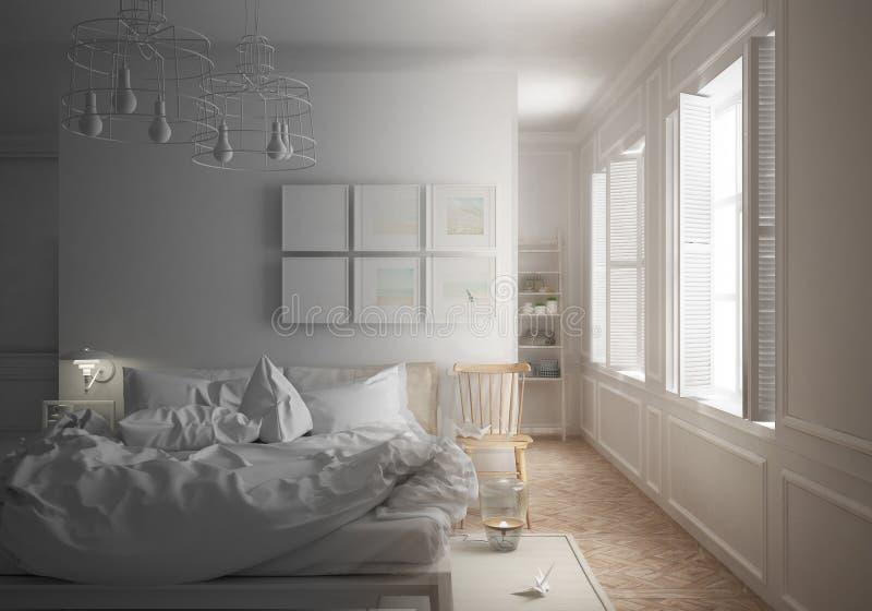 Proyecto inacabado del proyecto del dormitorio mínimo escandinavo con la cama sucia y las ventanas grandes, arquitectura minimali stock de ilustración