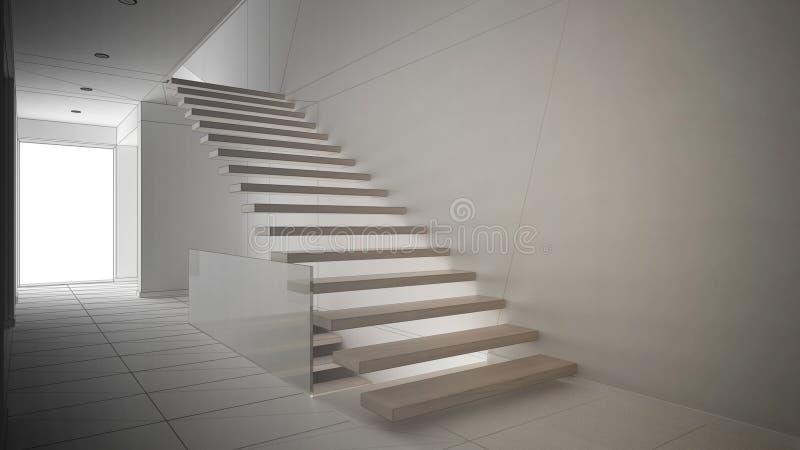 Proyecto inacabado del hall de entrada moderno con la escalera de madera ilustración del vector