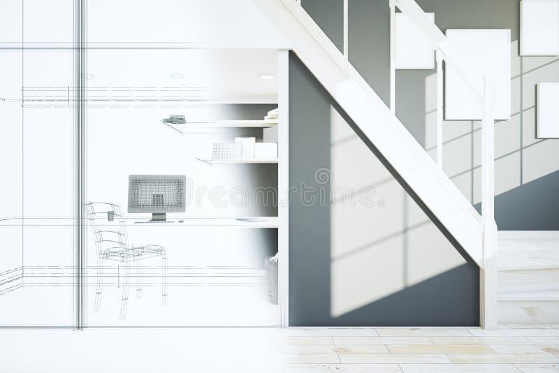 Proyecto interior inacabado ilustración del vector