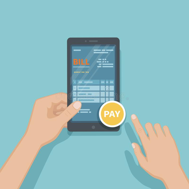 Proyecto ley de remuneración del hombre usando smartphone Factura en línea que paga, contabilidad, considerando vía el teléfono H stock de ilustración