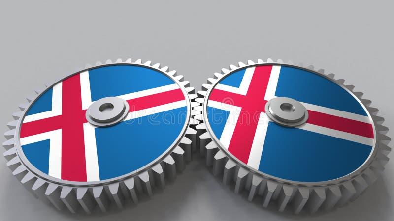 Proyecto nacional islandés Banderas de Islandia en las ruedas dentadas móviles Representación conceptual 3d stock de ilustración