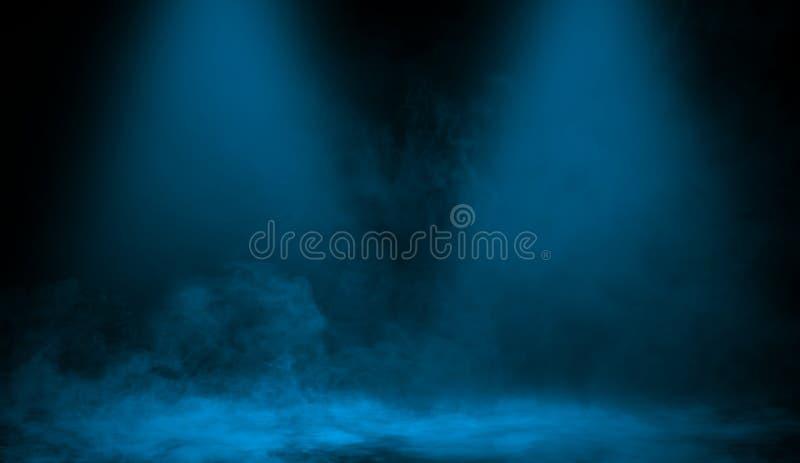 Proyector azul abstracto con niebla de la niebla del humo en un fondo negro Texturice el fondo para el gráfico y la web ilustración del vector