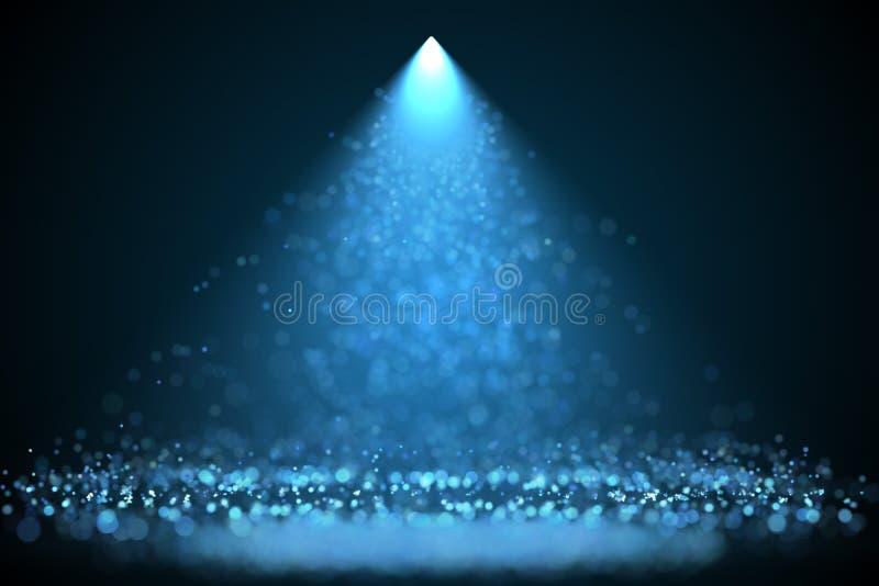 Proyector azul brillante del color con las partículas que caen stock de ilustración
