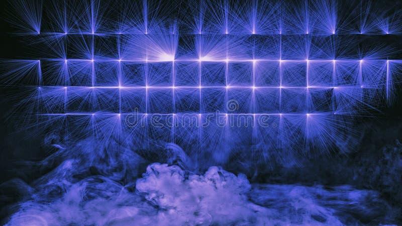 Proyector azul colorido de la etapa del estudio con humo en el piso Textura del elemento del diseño ilustración del vector