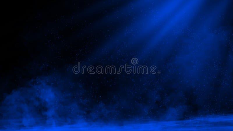 Proyector azul del estudio Etapa con humo en el fondo del piso Elemento del dise?o fotos de archivo