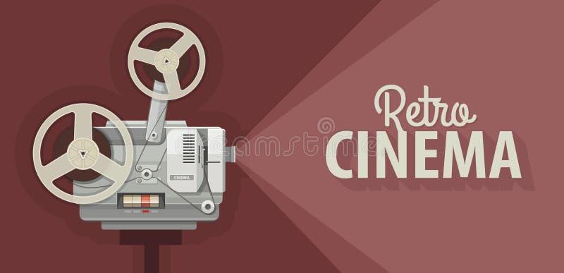 Proyector de película retro para la vieja demostración de las películas ilustración del vector