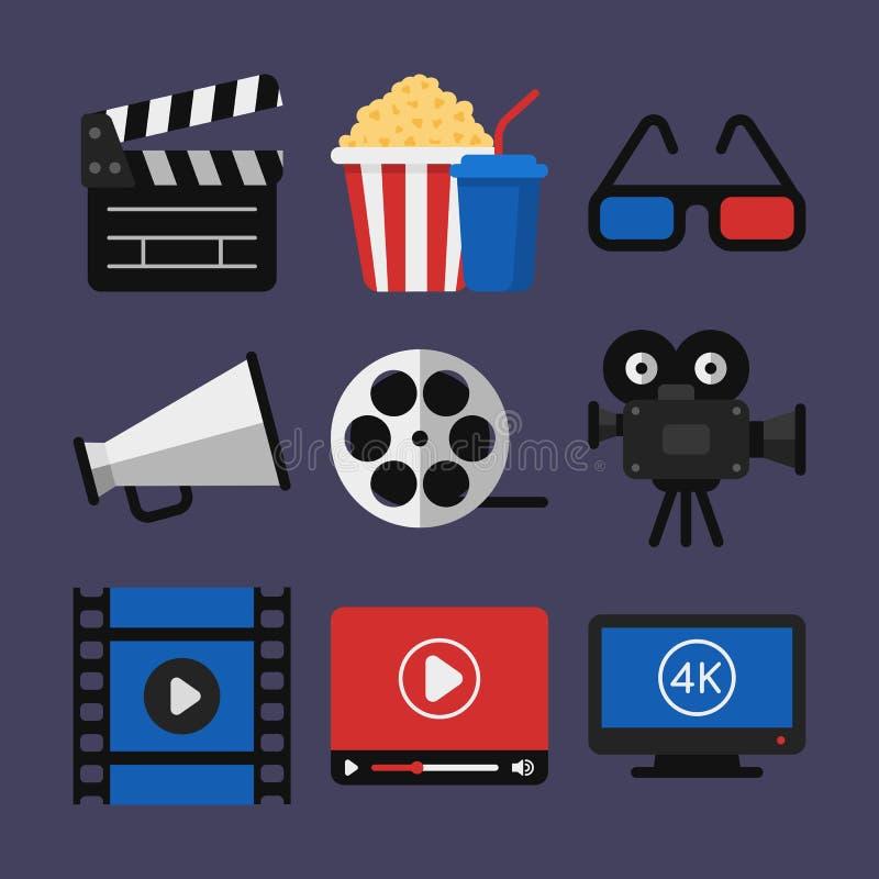Proyector de película de vidrios de las palomitas 3d de Clapperboard del cine de los iconos Vide stock de ilustración