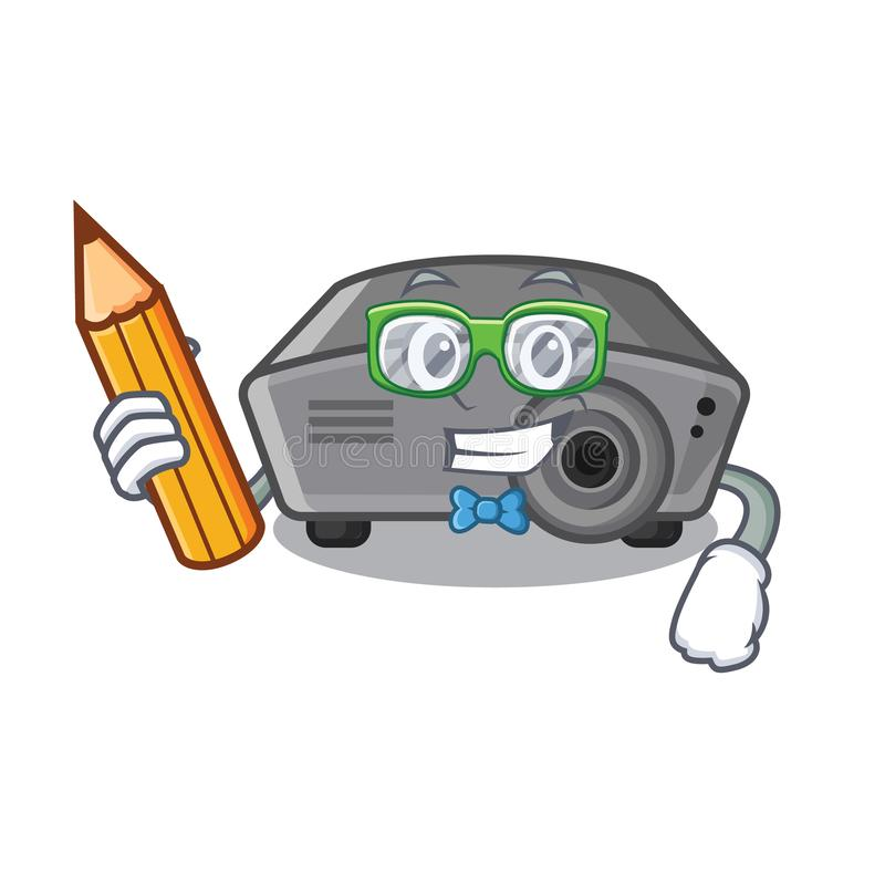 Proyector del estudiante aislado con en la mascota ilustración del vector