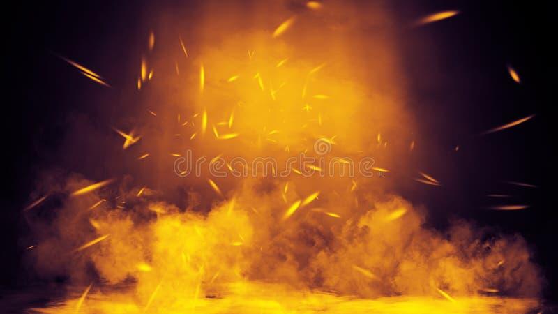 Proyector del estudio Etapa con humo en el fondo del piso Elemento del dise?o fotos de archivo libres de regalías
