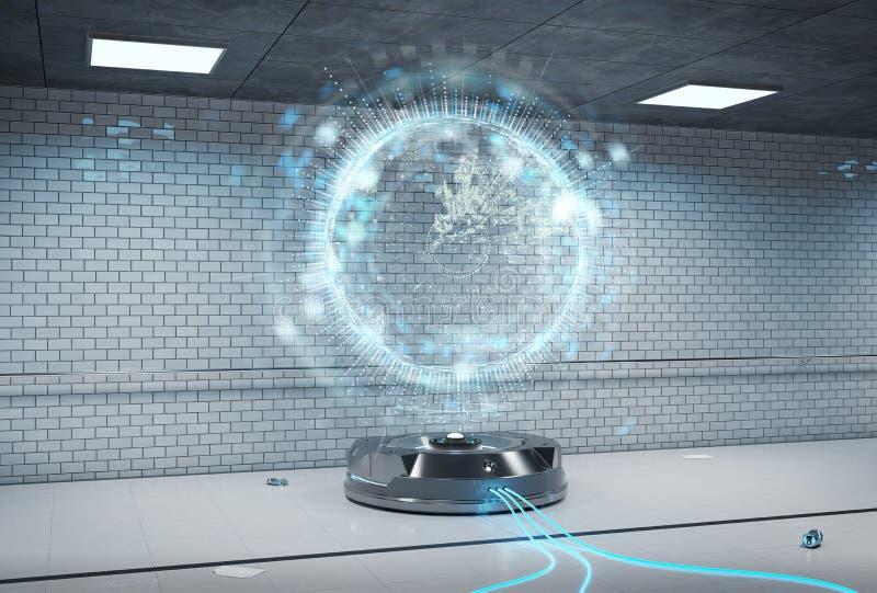 Proyector del holograma del interfaz en la representación subterráneo oscura 3d stock de ilustración