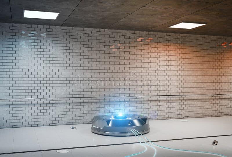 Proyector del holograma del interfaz en la representación subterráneo oscura 3d libre illustration