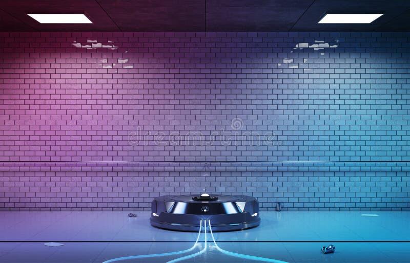 Proyector del holograma del interfaz en la representación subterráneo oscura 3d ilustración del vector