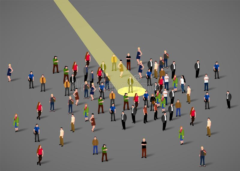 Proyector del hombre de negocios Recurso humano y reclutamiento Hombres de negocios del concepto del alquiler stock de ilustración