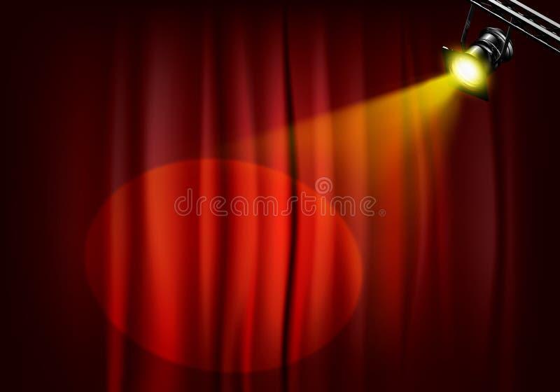 Proyector en las cortinas de la etapa ilustración del vector
