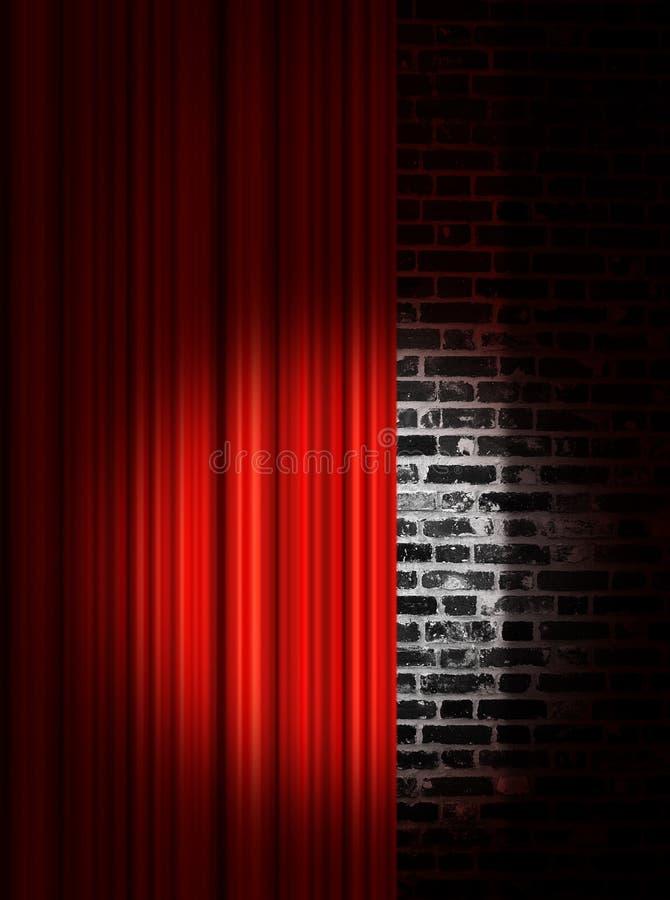 Proyector en las cortinas rojas de la etapa ilustración del vector