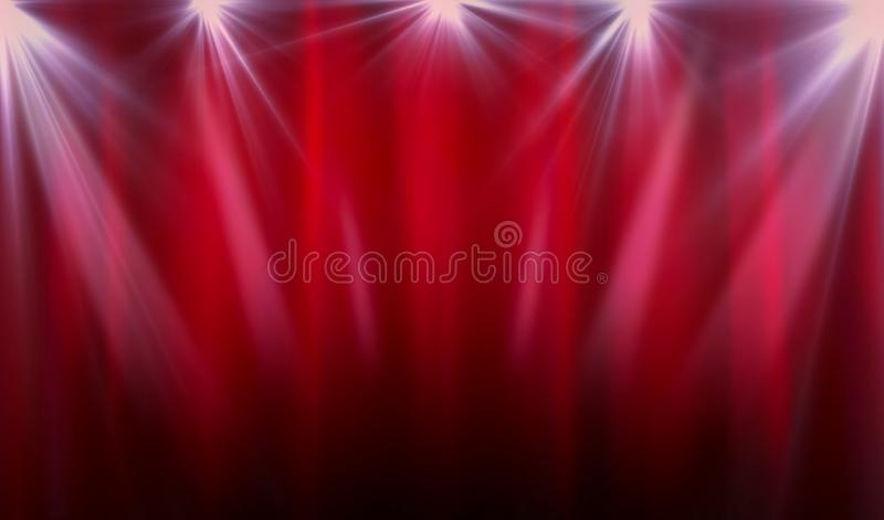 Proyector púrpura con la cortina con la oscuridad imagen de archivo
